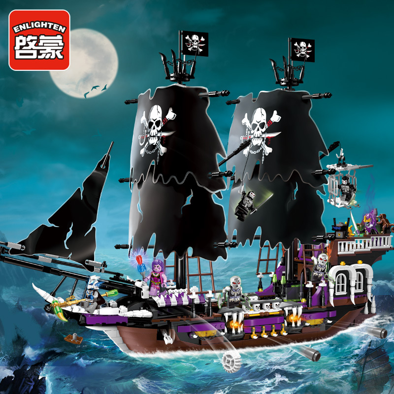 Enlighten 1313 Pirates Caribbean Black General Corsair Boat Skeleton Flag Minifigure Building Block Toys Compatible with