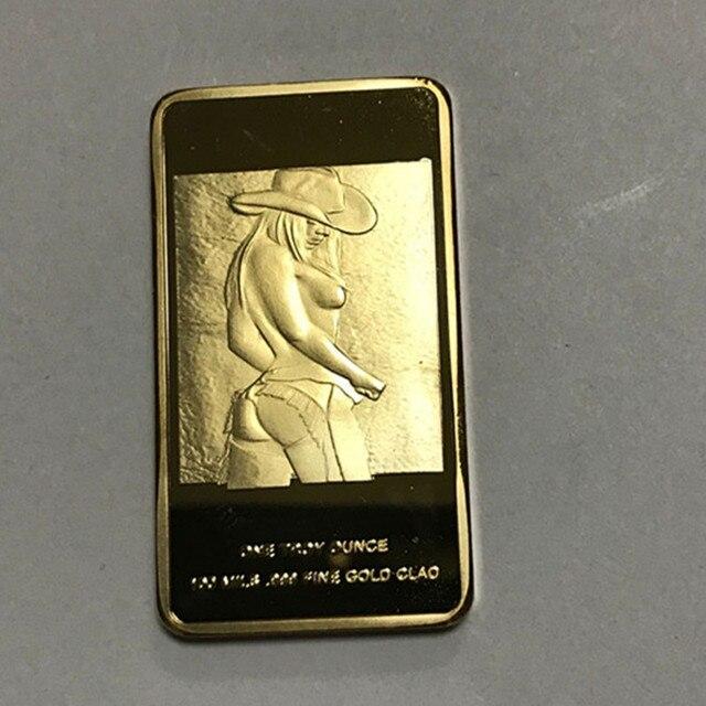 1 יחידות סדר לדוגמא יפה ילדה תג 1 OZ 24 k זהב אמיתי תג 50x28mm מצופה יופי אופנה לנשים בר למזכרת מטבע