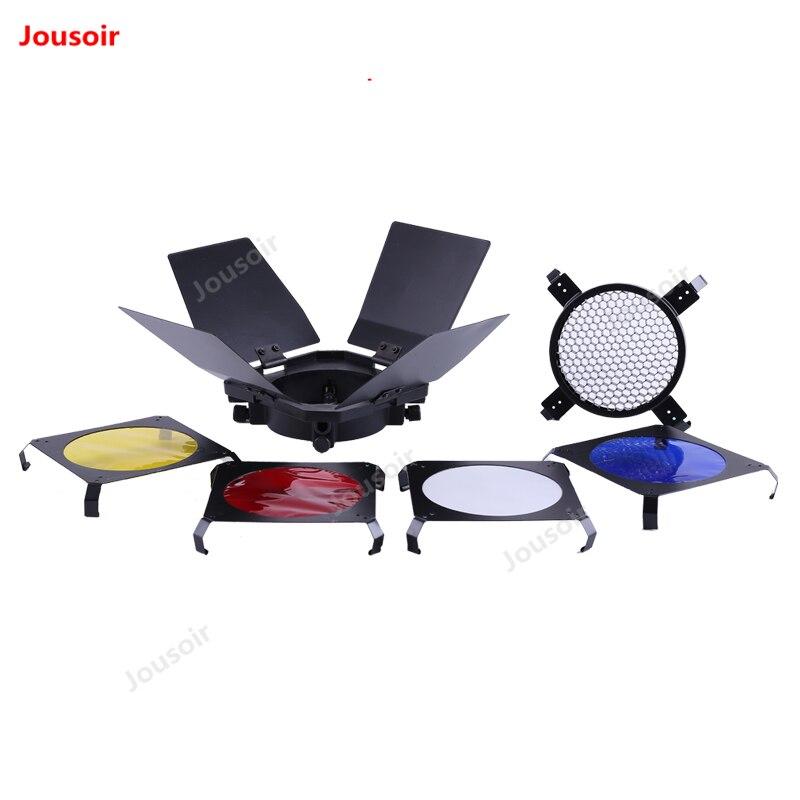 Filet en nid d'abeille pour porte de grange, accessoires de filtre à quatre couleurs, ensemble de lampes de poche pour studio, déflecteur photographique à quatre feuilles CD50 T10