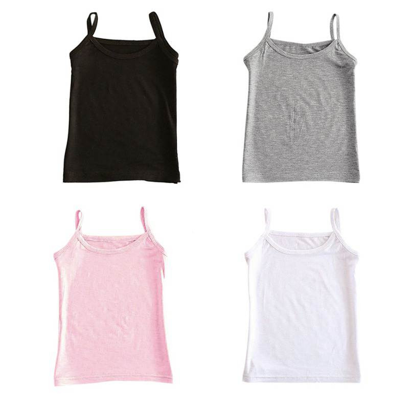 Girls Vest Camisole Undershirts Teenager Baby Kids Summer Sleeveless Cotton Solid 4-Colors