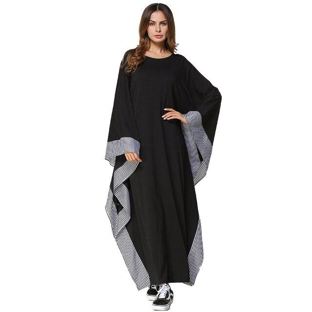 1df1477549a2e Vogue Autumn Winter Long Kaftan Dress Oversized Dresses Women Casual Plaid  Patchwork Batwing Sleeve Maxi Dress O-Neck Big Size
