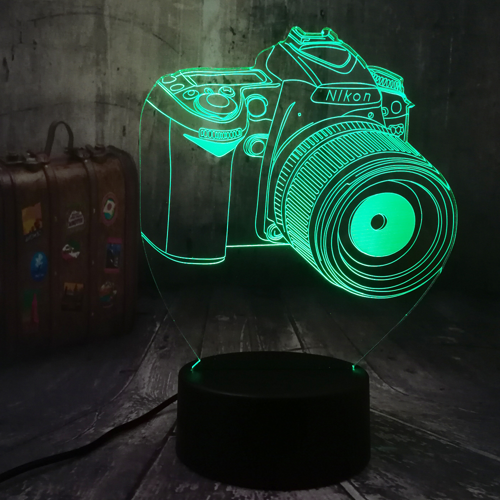 Novelty 3 Design Camera 3D LED Night Light 7 Color Change Touch Remote Desk Lamp Kid Toys Christmas Gift Photographer Home Decor