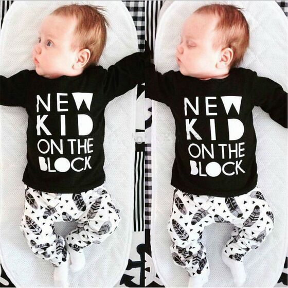2018 Baby Boy Clothes Infant Clothing Sets Long Sleeved T-shirt + pants Creative newborn baby clothing set NEW KID ON THE BLOCK