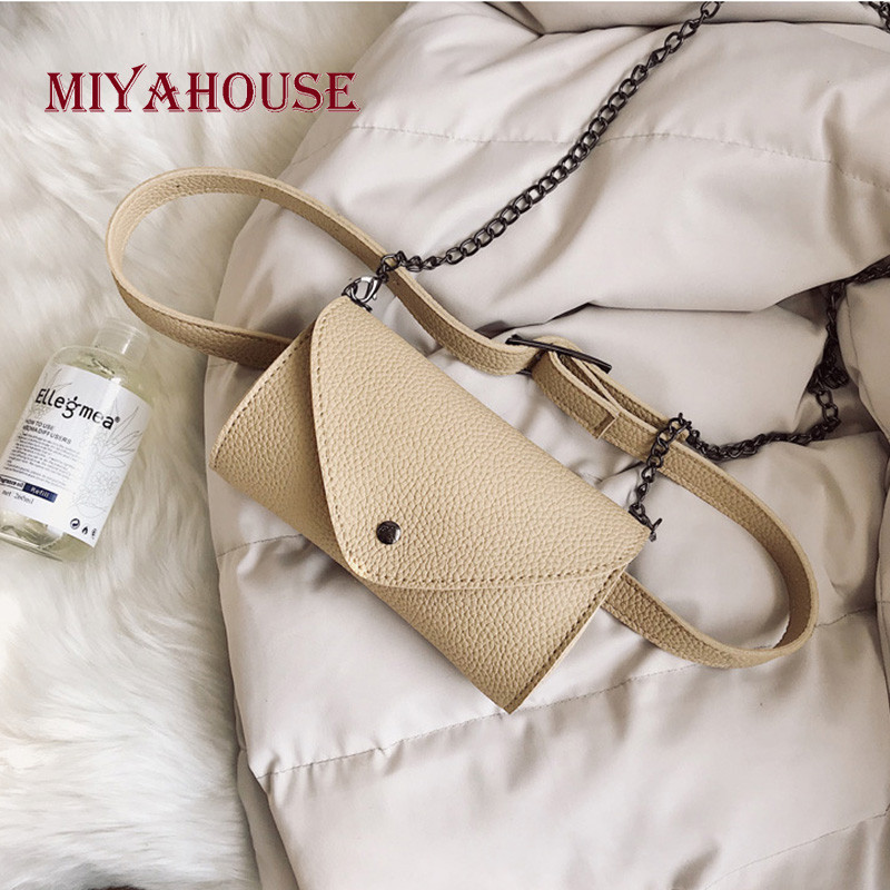 Miyahouse Trendy Waist Bags Classic Female Belt Pack For Women Mini Shoulder Bags PU Leather Simple Chain Belt Bags