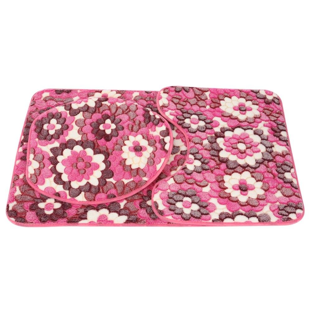 3 pcs salle de bains tapis ensemble corail polaire tapis en mousse mmoire kit toilette - Tapie Salle De Bain Aliexpress