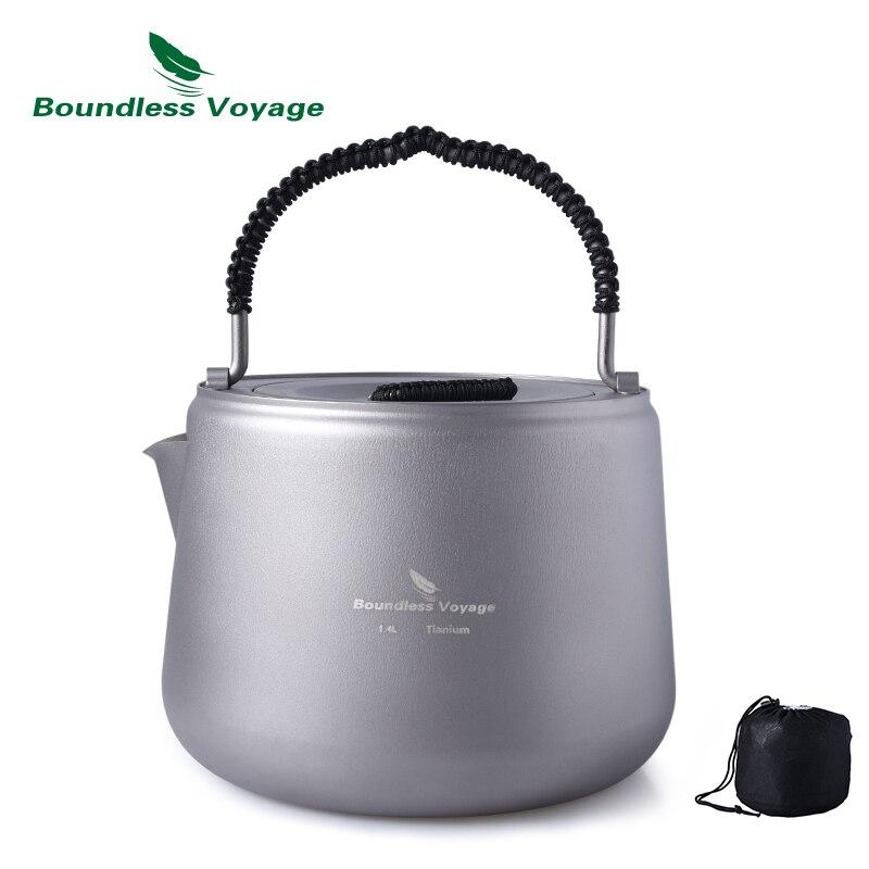 Bouilloire extérieure en titane de Voyage sans limite avec filtre Anti-brûlure poignée couvercle café thé approprié cuisinière à feu et à Induction