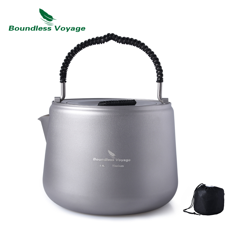 Boundless Voyage Outdoor Titanium Kettle with Filter Anti scalding Handle Lid Coffee Tea Suitable Fire and Induction Cooker