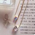 Mulheres pingente & colar 14 k ouro elegante ladies presente Áustria import praça colorido gargantilha de cristal cadeia de acessórios de jóias finas