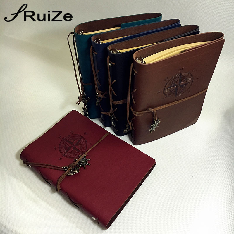 RuiZe Vintage travelers notebook leather travel journal book blank page kraft paper sketchbook A5 spiral notebooks 6 ring binder standard a5 style leather notebook inside loose leaf page have 6 hole on page paper insde 60 pcs quality kraft blank page