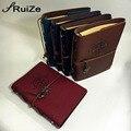 Vintage notebook de viaje libro diario de viaje de las páginas en blanco de papel kraft cuaderno de cuero a5 cuadernos de espiral 6 carpetas de anillas