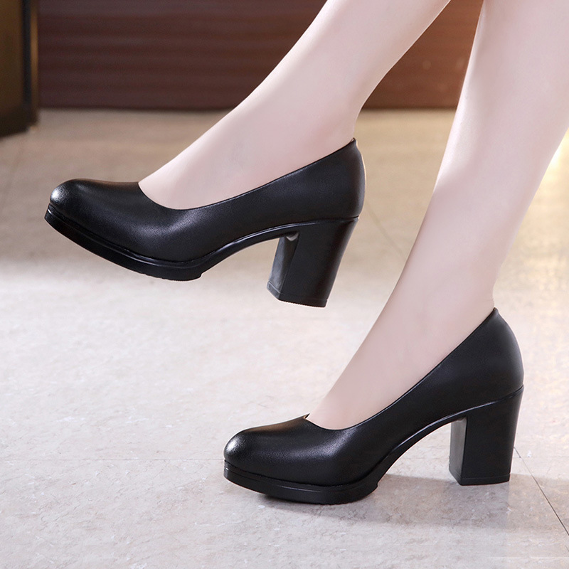 Plus Size 32-43 Round Block Heels Pumps Women Shoes 2019 Spring Shallow Med Heel Black Formal Dress Shoes Elegant Office Shoe