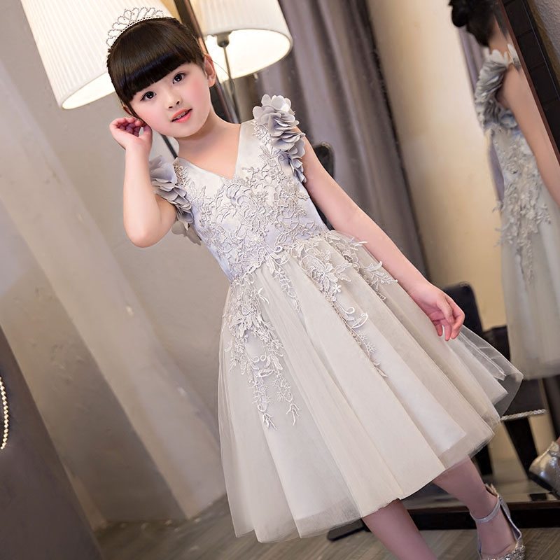 NEW 2019 Europea American Fashion Luxury Children Girls Embroidery Lace flowers Princess Dress Popular Beautiful V-collar Dress