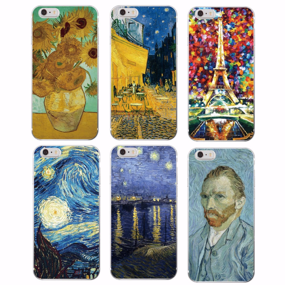Van Gogh Starry Night Sunflower Oil Painting Cat Flower Eiffel Soft TPU Phone Case For iPhone 6Plus 6 6S 5 5S SE 5C 4S 7Plus 7
