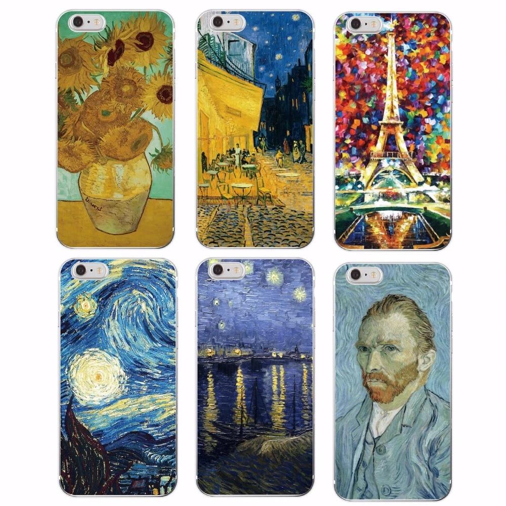 Van Gogh notte stellata girasole pittura a olio gatto fiore Eiffel custodia morbida per iPhone 12 11 6 6S 7Plus 7 8 8Plus X XS Max