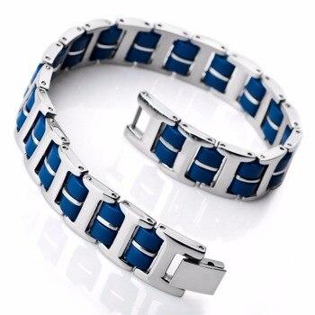 fac3a3a786a9 Pulsera hombres de acero inoxidable pulsera de goma enlace plata azul negro  I Rectangular pulido envío gratis