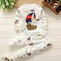 Padrão de Urso dos desenhos animados Capitão Sailing Meninos Primavera Conjunto de Roupas de Bebê Pijamas menino 2 3 4 5 Anos de Idade Calças T-shirt duas Peças marca