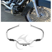 Motorcycle New Mustache Engine Guard With Rubber Pegs For Harley FL SOFTAIL Springer Fatboy Heritage Deluxe 00 17