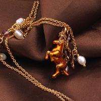 France Les Nereides Enamel Glaze Copper Pleated New Trendy Horses Animal Pearl Women Clavicle Necklaces