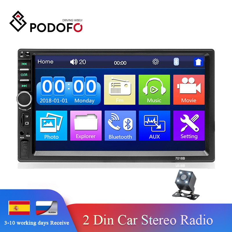 <font><b>Podofo</b></font> 2din Auto Radio Car Audio Stereo 7'' HD Touch Screen Video MP5 Player Bluetooth Radios Support Rearview Camera MirrorLink image