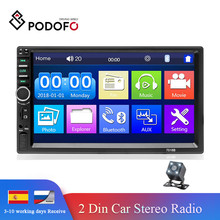"Podofo 2din Auto Radio Car Audio Stereo 7 ""Schermo di Tocco di HD Video MP5 Lettore Bluetooth Radio Supporto Telecamera Per La Retromarcia mirrorLink"