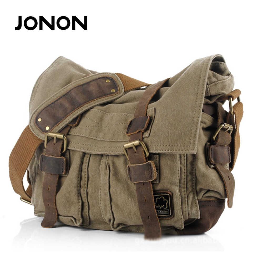 1e0f52e87 JONON New Arrival Men's Canvas Bags Vintage Briefcase Men's Messenger Bags  Vintage Cross-body Bag