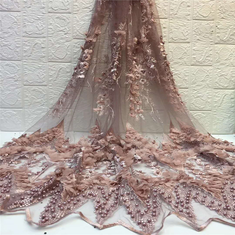 African Beaded Lace Fabric 3D Flower High Quality 2019 French Tulle Lace Fabrics Appliqued Nigerian Net