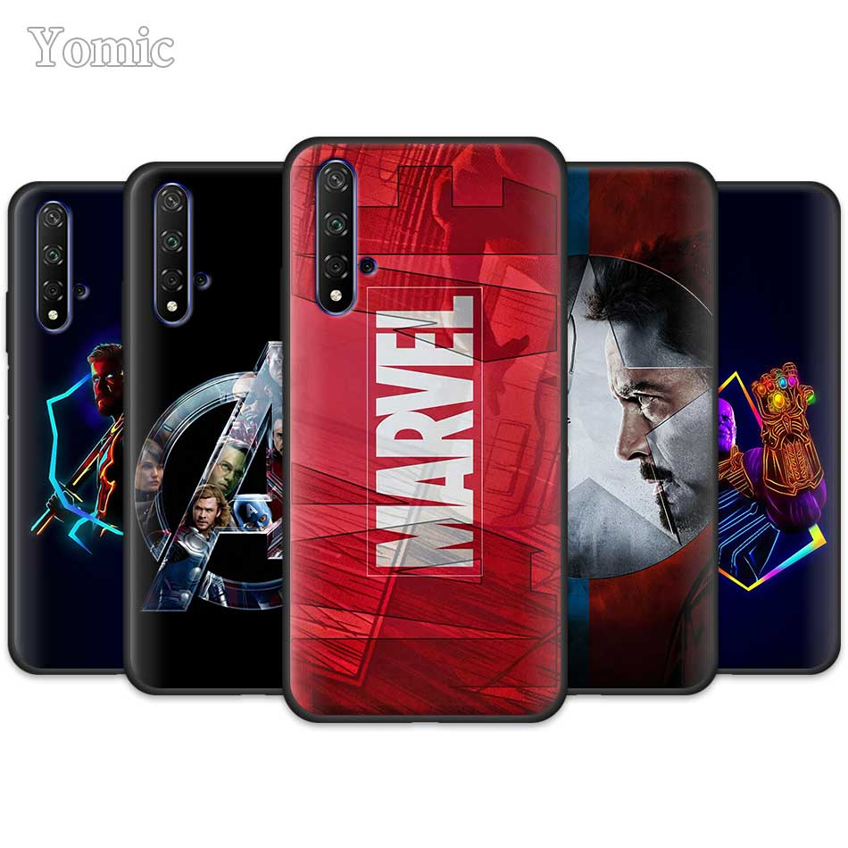 <font><b>Marvel</b></font> Superheroes The Avengers Black Silicone <font><b>Cases</b></font> for <font><b>Huawei</b></font> Honor Y5 Y6 <font><b>Y7</b></font> Y9 <font><b>2019</b></font> Y9 P30 Pro Honor 20 Pro Phone <font><b>Case</b></font> Cover image