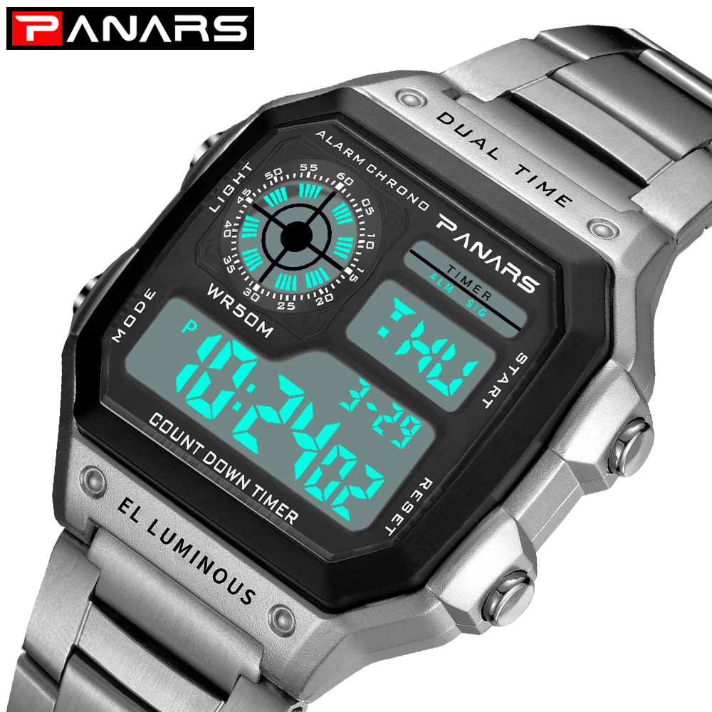 Military Men's Sports Digital Chronograph Watch Gold Wristwatches Male Clock