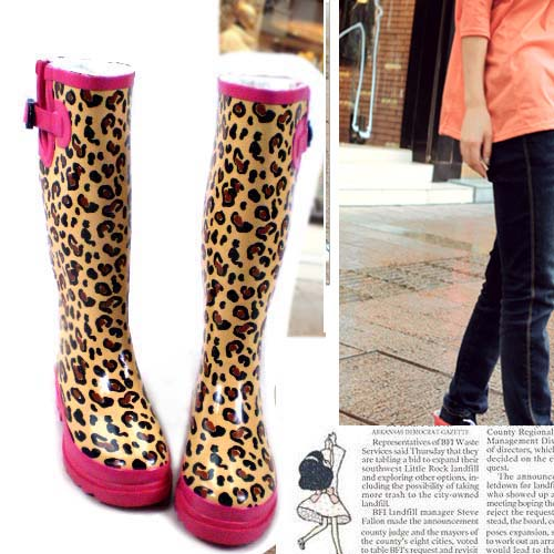 Aliexpress.com : Buy Hottest pink thermal leopard print rainboots ...