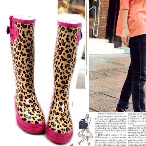 00c0a69750ef Hottest pink thermal leopard print rainboots rain boots high knee-high