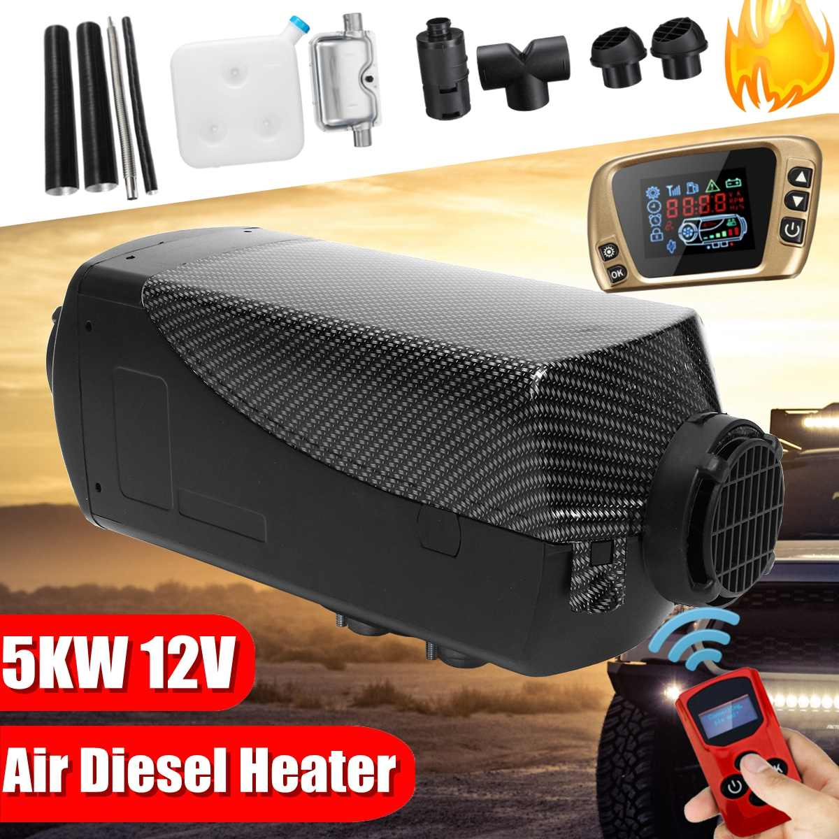 Lcd-Switch Car-Trailer-Heater Remote-Control Diesels Boats Silencer 12V 5KW With And