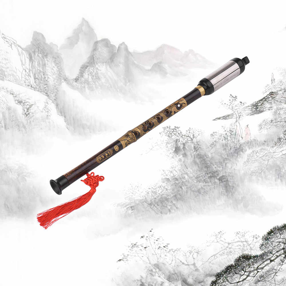 Cina Tradisional Alat Musik Vertikal Ditiup Flute Bawu Reed Hitam Bambu Cina Gratis Kunci G untuk pemula