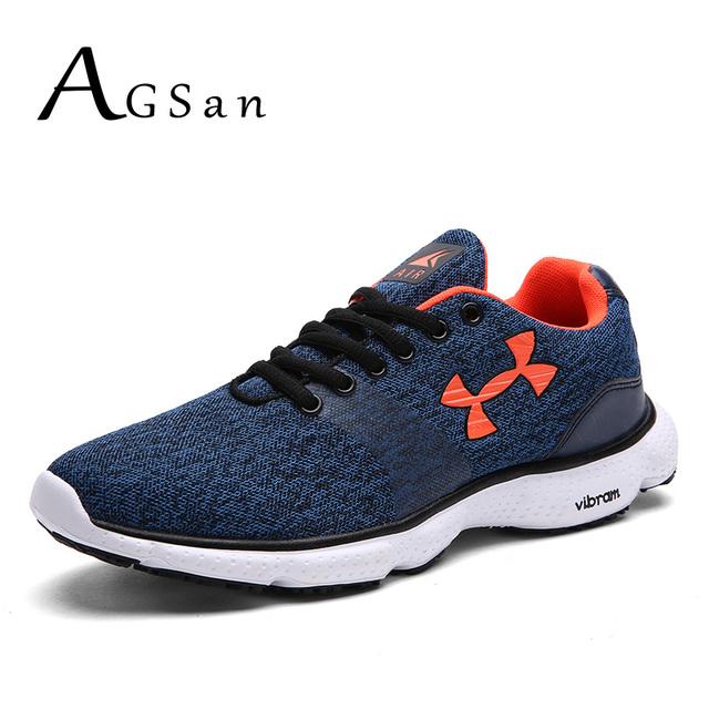 AGSan entrenadores hombres zapatos casuales de color azul más el tamaño 10 9.5 malla krasovki americano calzado zapatos zapatos para hombre gris rojo 46