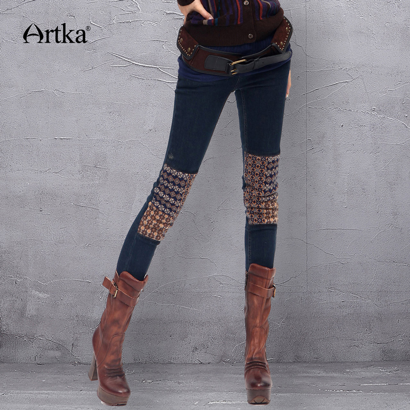 ARTKA Women s Pencil Pants Skinny Jeans Patchwork Pockets Zippers Button Skin Tight Warm Knitted Winter