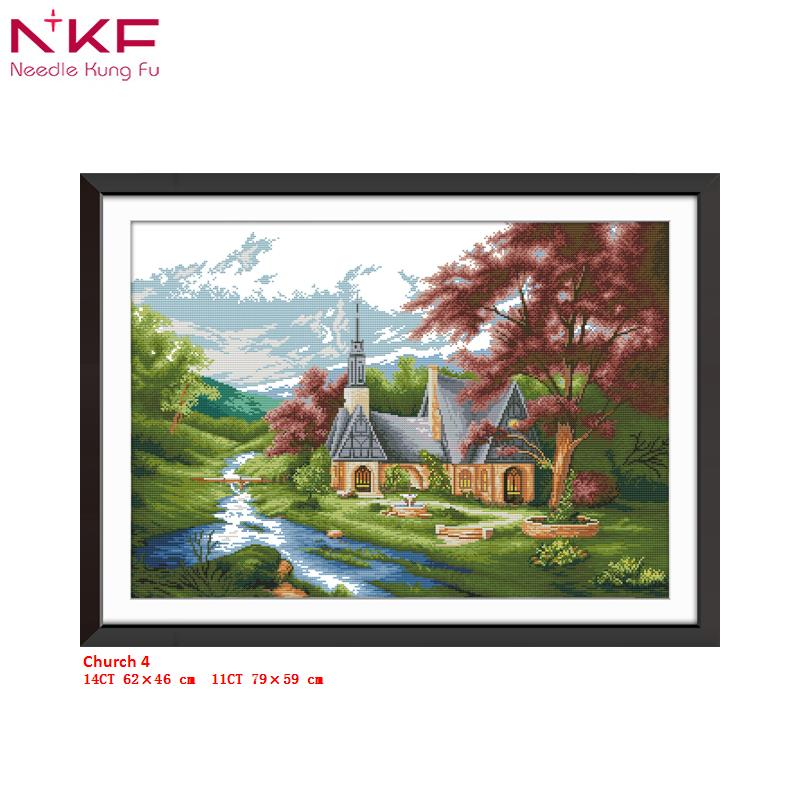 NKF new cross stitch kit Church 4 clear pattern needlework DMC 11 14 CT DIY easy handmade embroidery Kit for room decor and gift in Package from Home Garden
