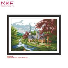 NKF new cross stitch kit Church 4 clear pattern needlework DMC 11/14 CT DIY easy handmade embroidery Kit for room decor and gift
