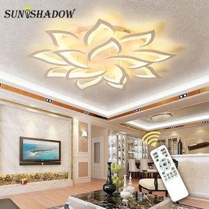 Image 2 - Luminarias de techo Led modernas para sala de estar, dormitorio, comedor, lámpara de techo de araña de acrílico blanco