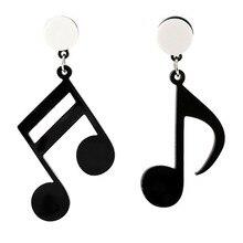 Personality Music Symbol Drop Earrings Asymmetric Acrylic Notes Ear Earrings For Women Jewelry Gift Black цена