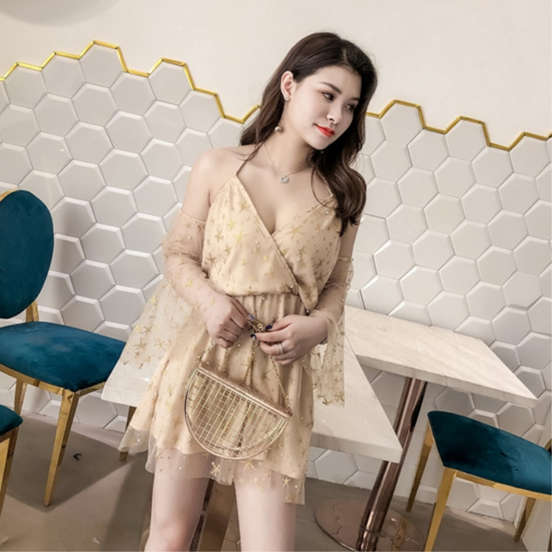 Ladies Casual Loose Playsuits Rompers Sexy Strapless Ruffles Playsuits Transparent Mesh V Neck Chiffon Shorts backless Bodysuits