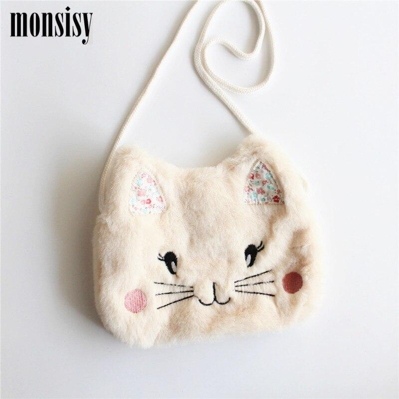 Monsisy Winter Faux Fur Cat Baby font b Bag b font For Girl Purse and Handbag
