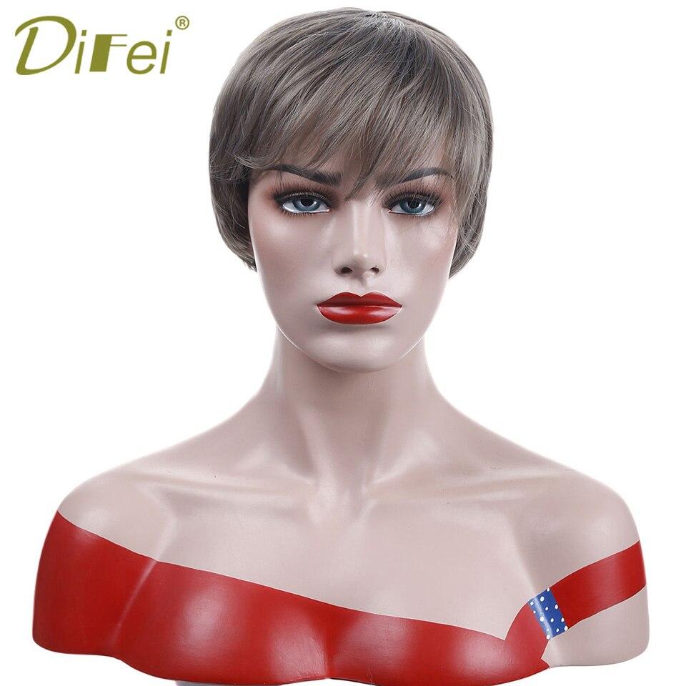 Натуральный синтетические волосы короткие прямые парик высокого Температура волокна для Для женщин костюмы вечерние Косплэй парик DIFEI ...