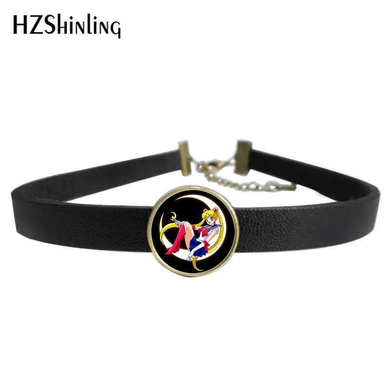2017 nouveau collier en cuir de lune de marin Mercury Star Power bijoux en verre Photo pendentif en cuir collier ras du cou pour les femmes