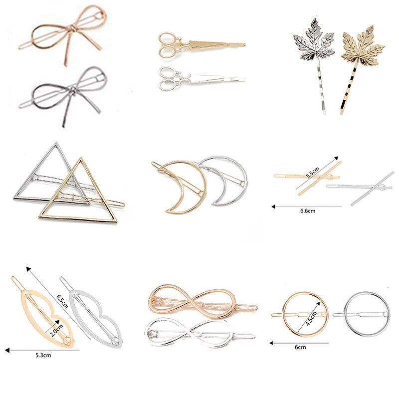 Barrette Accessories Hair-Clip Jewelry Leaf Moon Triangle Round Girls Women Punk Alloy
