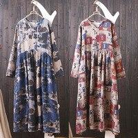 Japanese Kimono Harajuku Boho Robe Longue Femme Rockabilly Jurk Retro Print Cotton Pluse Size Loose Soft