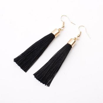 Donarsei Bohemian Long Fringe Tassel Earrings For Women Simple Black Rope Hook Drop Dangle Earrings Jewelry Gift