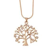 Ожерелье с подвеской «Древо жизни», женское ювелирное изделие, мода, кристалл, розовое золото, массивное ожерелье, s& Кулоны, рождественские подарки, бижутерия
