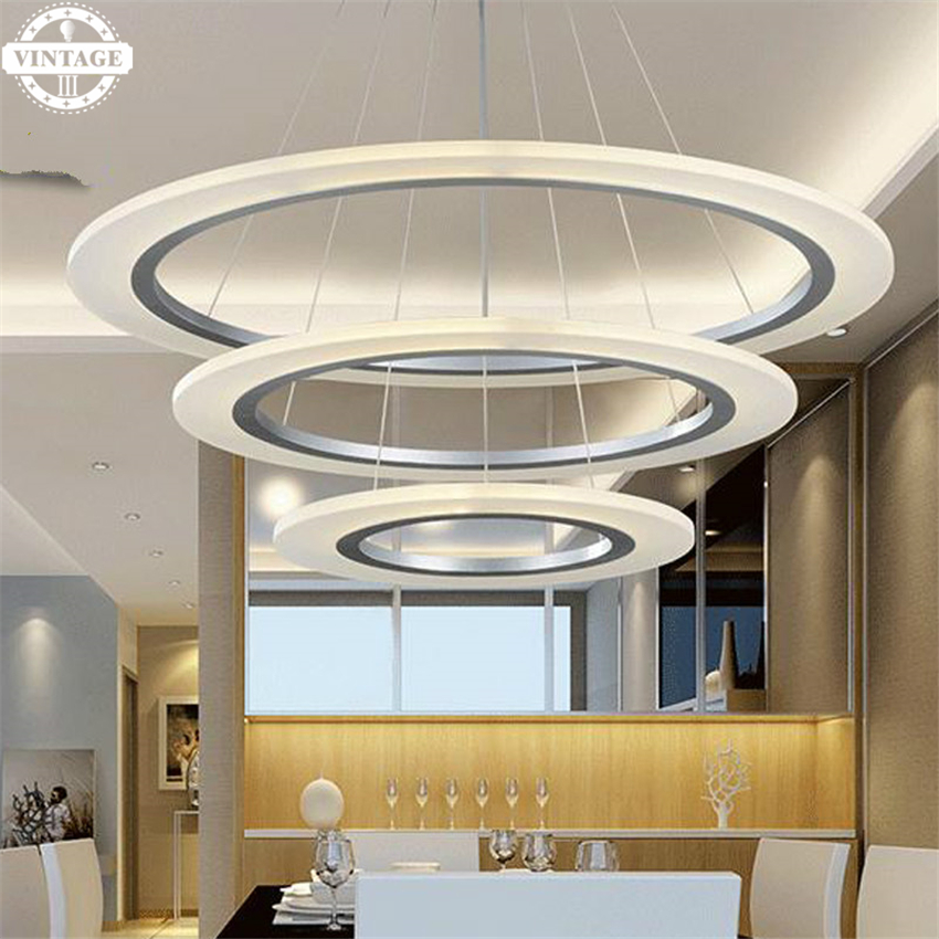 3/2/1 Circle Rings acrylic aluminum body Modern LED Lighting ceiling Lamp fixtures pendant lights for living room dining room modern led pendant lights for living room 3 2 1 circle rings acrylic aluminum body pendant lamp hanglamp lamparas colgantes