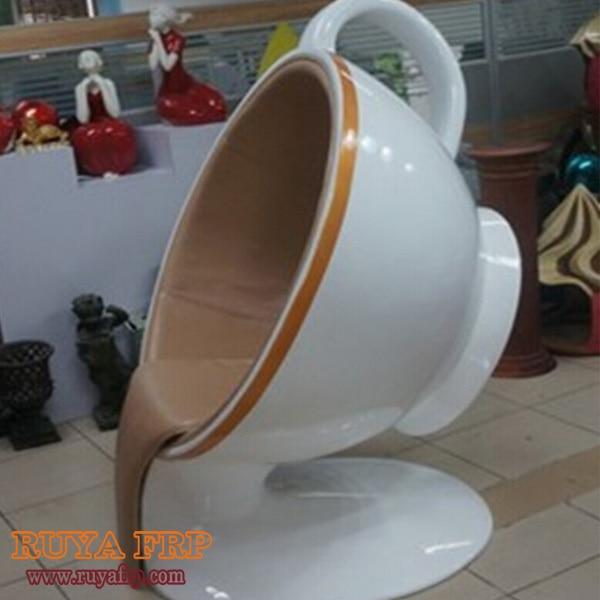 Wonderful RUYA Design Commercial Furniture,coffee Cup Shape Decorative Waiting Chair,fiberglass  Furniture Customized China
