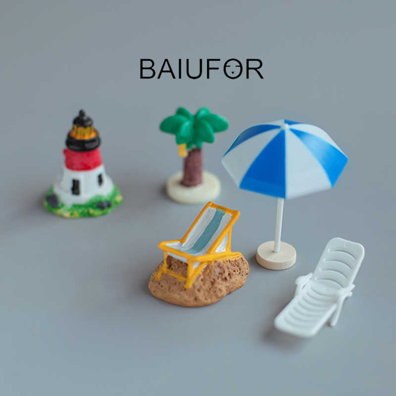 BAIUFOR Sandy Beach Holiday Series, figurinhas & Miniaturas Fairy Garden Decor Cadeira Sol Guarda-chuva Do Mar Tartaruga Golfinho Árvore de Coco