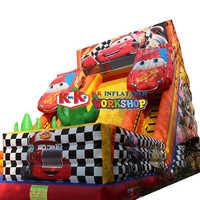 2019 nowa atrakcja!! Samochód nadmuchiwana zjeżdżalnia dla dzieci, samochody nadmuchiwana sucha zjeżdżalnia, samochód wyścigowy nadmuchiwana zjeżdżalnia na sprzedaż